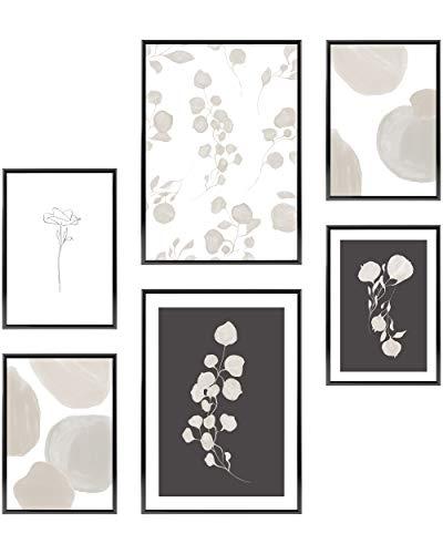 Heimlich® Premium Poster Set | OHNE Bilderrahmen | Stilvolles Set mit passenden Bilder als Wohnzimmer Deko | 2 x DIN A3 & 4 x DIN A4 - ca. 30x42 & 21x30 | » Atelier Bontanique «