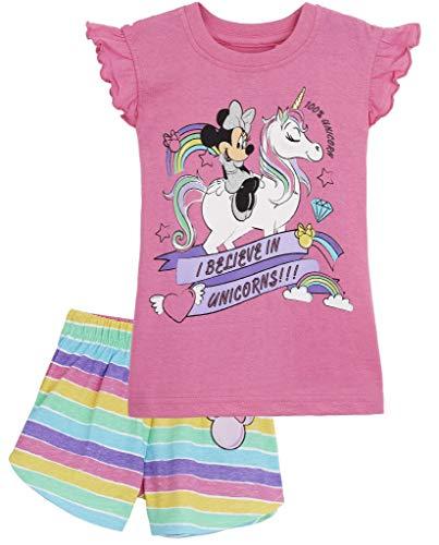 Disney Minnie Mouse Pijama Niña Verano, Ropa de Niña Vacaciones Algodon 100{ea34a357b00d4056415b10b68910aa9a66dd5ff94dcb4239993d1d790a2140fa}, Conjuntos de 2 Piezas Top y Pantalon Corto Niña, Regalos Originales para Niñas Edad 1-8 Años (Rosa Unicornio, 4 años)