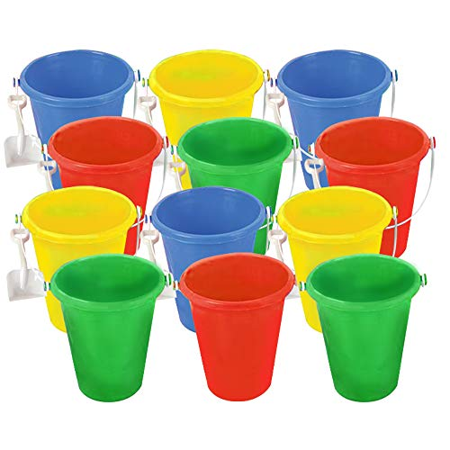 ArtCreativity 6 Inch Mini Plastic Beach Pail and Shovel Set - Pack of 12 - Assorted Colors Buckets and White Shovels - Summer Beach Toys - Practical Gift, Party Favor and Prize