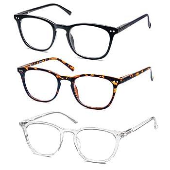 Reading Glasses Women Men Stylish Readers 1.0 Lightweight Frame Glasses for Reading 3 Pack Black / Tortoise/Clear
