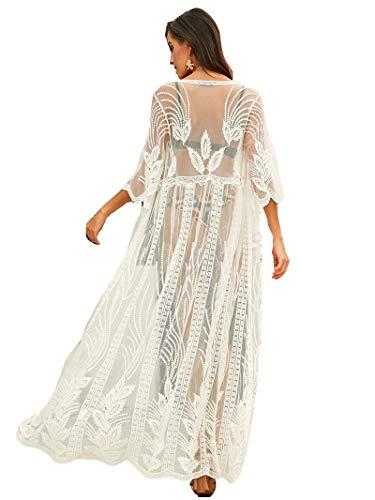 Damen Strandbluse, fließend, Knopfleiste, lang, bestickt, Spitze, Kimonos mit halben Ärmeln - Weiß - Einheitsgröße
