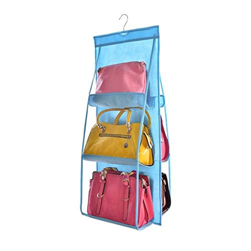 FineFineBest 6 Pockets Handbag Storage Bag Large Clear Purse Hanging Organizer Closet Wardrobe Closet Storage Organizer Wall Door for Purses Handbag
