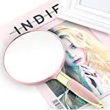 Home bathroom products Retro Handle Makeup Mirror, Hand-held Portable Tattoo Supplies, Round Mirror - Pink