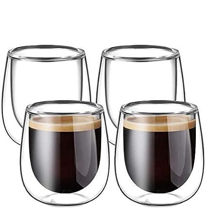 Glastal 120ml*4 Tazas de Café de Cristal,Vasos de Espresso de Doble Pared Transparente,Tazas de Vidrio Borosilicato para Té,Café