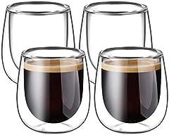 Glastal Taza de Cristal café expreso, Transparente, 120ML, Juego de 4 Piezas