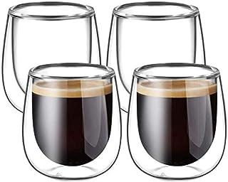 Glastal 4x120ml Tasses à Espresso en Verre Transparent,Verre à Double Paroi,Verre à Café