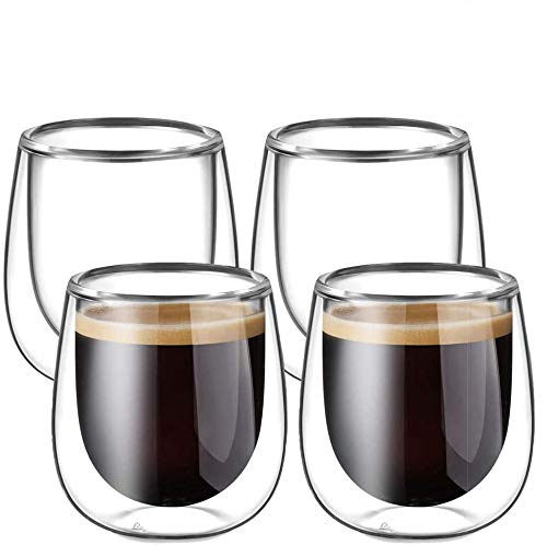 Glastal de 4 Tasses à Espresso en Verre 120ml