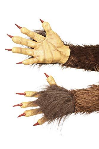 Smiffys 47077 Smiffy's Beast/Krampus Dämon Handschuhe, braun, Einheitsgröße