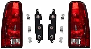 Tail Light Assemblies Pair Set Rear Lamps with Bulb Sockets & Connector Plates for 88-99 GMC Chevy Pickup 00 2500/3500 C/K Old Body Style Truck replaces 5977867 5977868 GM2800104 GM2801104 AutoAndArt