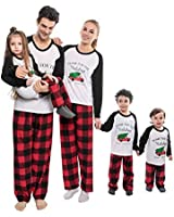 Family Christmas Pajamas Set,Fashion Letter Print Long Sleeve Top and Red Plaid Pajamas Holiday Sleepwear Loungewear for Kids Adult (Papa-L)