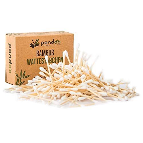 pandoo 4er Pack Bambus Wattestäbchen (800 Stück) | 100{0149dbf6b51b9efc787facf7688c34ed5d34a3bbdae18e7de71c614f6320bdfb} biologisch abbaubar, vegan & nachhaltig | kompostierbare premium Wattestäbchen