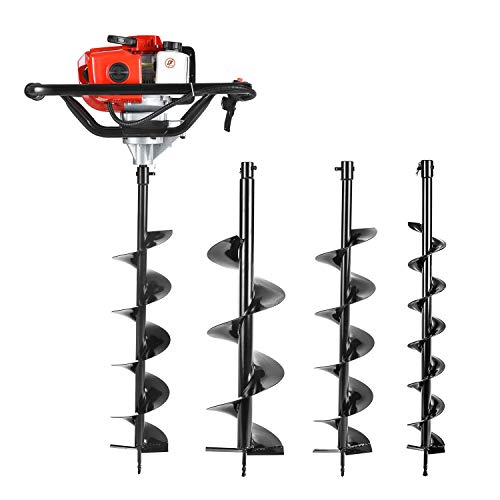Earth Auger Power Head Heavy Duty with 52cc, 2 Cycle, Powered-Digger-Extention-Stroke-Person-Powerhead Full Engine Post Hole Digger Auger Petrol Drill Bit Earth Borer +3 Bit 4' 6' 8'