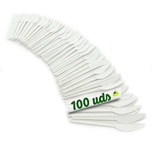 GoBeTree Cuchillos de plástico biodegradables Reutilizables. Cubiertos Compostables. Cuchillos de cpla Blanco...
