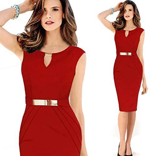 Aututer - Vestito da donna alla moda, estivo, casual, da ufficio, per feste, colore: nero Borgogna M