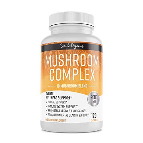 Mushroom Supplement 2600mg -120 Vegan Capsules  10 Mushrooms - Organic Lions Mane  Cordyceps  Reishi  Turkey Tail  Maitake  Chaga- Immunity  Energy  Focus & Natural Stress Relief