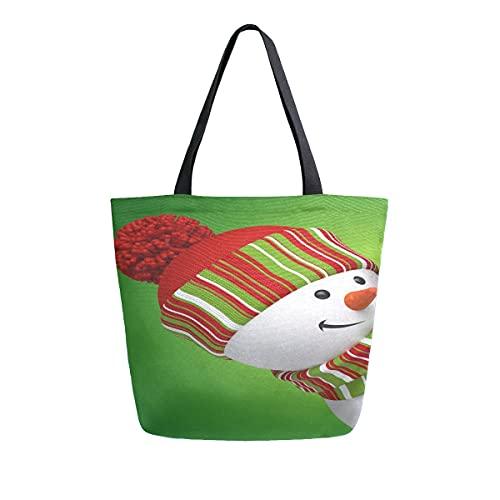 AHYLCL - Pañuelo de Navidad, diseño de muñeco de nieve, bolsa de lona para el hombro, reutilizable, grande, multiusos, para el trabajo, la escuela, compras, al aire libre