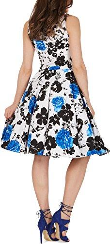 Black Butterfly 'Aura' Classic Serenity Kleid im 50er-Jahre-Stil (Weiß & Blau, EUR 36 – XS) - 3