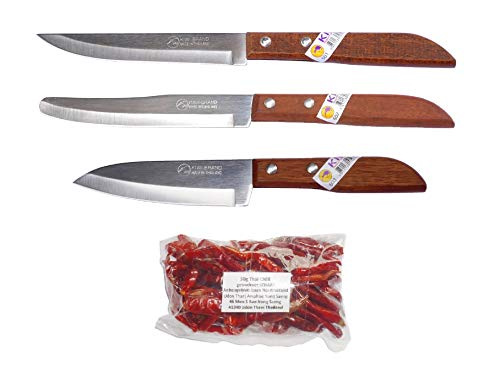 kiwiandkomkom Kiwi Thai 501 # 502 - Juego de 3 cuchillos asiáticos y 30 g de chilli del norte de Tailandia