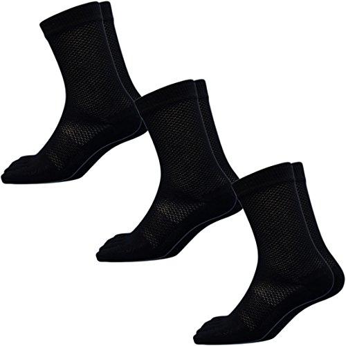(1925) 靴下 メンズ 5本指 蒸れない快適メッシュソックス 高級コーマ綿糸でソフトな履き心地 軍足 安全靴や作業用に 黒3足組 25~27cm