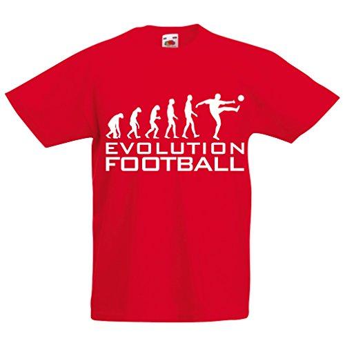 lepni.me Camiseta para Niño/Niña La evolución del fútbol - Camiseta de fanático del Equipo de fútbol de la Copa Mundial (9-11 Years Rojo Blanco)