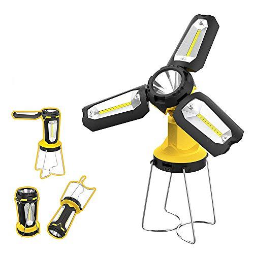 充電式LEDキャンプランタン、ポータブル2200mAhテントLEDは、電話充電、緊急、ハリケーン、釣りなどのUSB充電による懐中電灯を点灯します