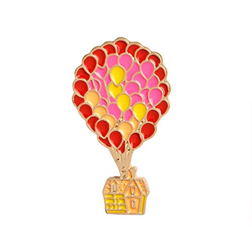 JTXZD broche Emaille pin Balloon Flying house Zwembad tent rugzak Cartoon broche op Pin Denim jas Pin Badge Creatief