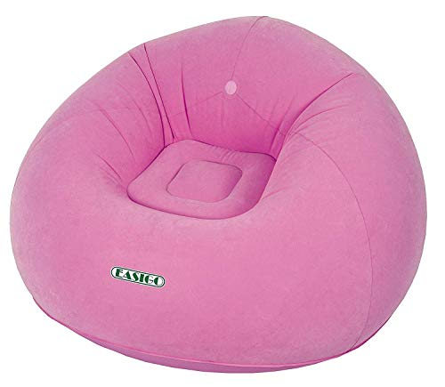 Netagon 1 Person PVC Inflatable Flocked Lazy Chair Sofa ideal for Home, Garden, Outdoors & Travel (Pink)