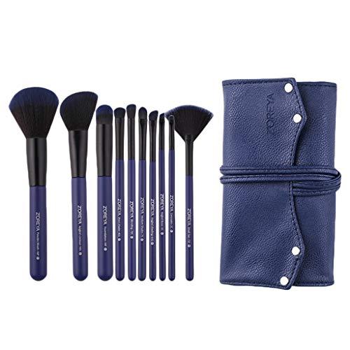 SM SunniMix Lot de 10 Pinceaux Maquillages Professionnels Kit, Makeup Brushes Nylon Doux Brosse de Maquillages Teint et Yeux avec étui de Rangement