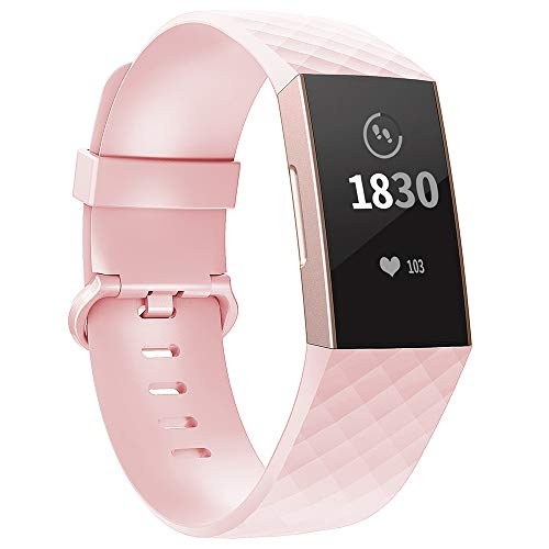 Adepoy für Fitbit Charge 3 Armband, Verstellbarer klassischer Sport Ersatzarmband Kompatibel mit Fitbit Charge 3/ Charge 3 SE, Damen Herren (Rosa, Klein)