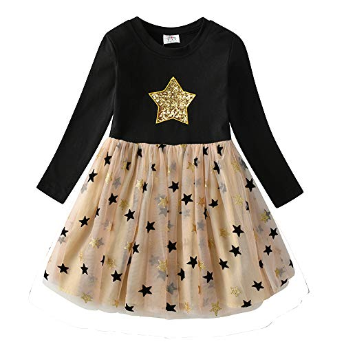 VIKITA Mädchen Kleider Langarm Kleid Blume Baumwolle Herbst Kinderkleidung LH4880 8T