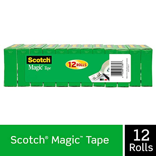 Scotch Magic Tape, 12 Rolls, Numerous Applications, Invisible, Engineered for Repairing, 3/4 x 1000...