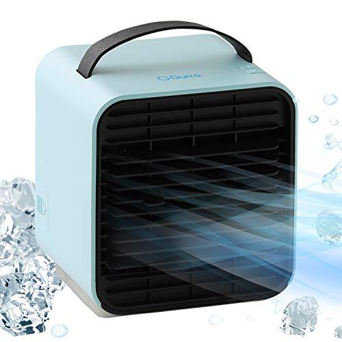 Qurra(Anemo Cooler mini) 卓上クーラー 冷風扇 コンパクト 氷 水 保冷剤 冷風 風量3段階 静音 ライト 潤う 冷却 省エネ USB充電 ライトブルー