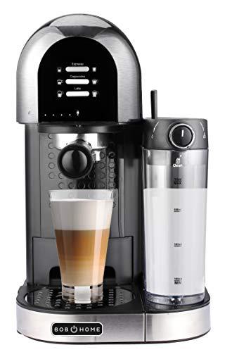 BOB HOME Kaffeecenter LATTESSA - Siebträgermaschine, 15 bar, automatischer Milchschaumberieter, abnehmbarer Milchtank, Reinigungsprogramm, vorprogrammierte Kaffeespezialitäten