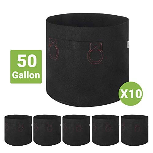 IDIGAO 10-Pack 50 Gallon Grow Bags Plant Pots Heavy Duty Aeration Fabric Potato Grow Bags with Handles