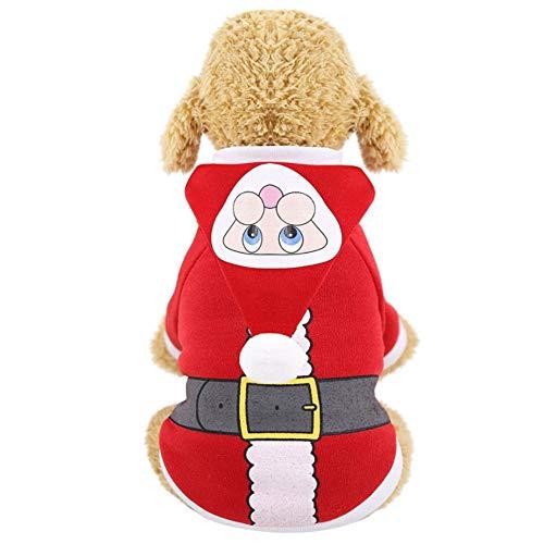 RFDFG Sudaderas con Capucha para Perros pequeos, Ropa de Navidad, Ropa para Perros, Ropa para Mascotas, suter con Capucha de otoo e Invierno, Ubranka Dla Psa
