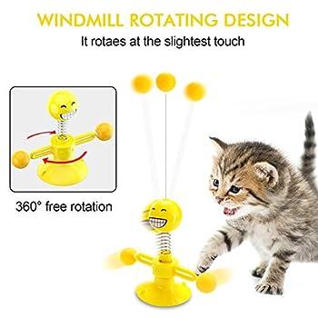 SANBLOGAN Moulin à vent pour chat - Jouet interactif pour chat - Jouet éducatif pour chat avec ventouse/plume/balle pour jouer, mordre et pédaler.