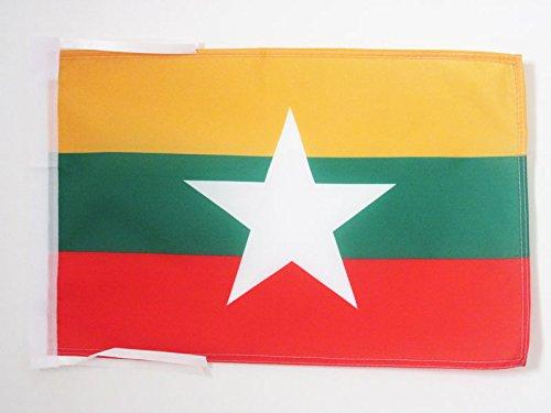 AZ FLAG Burma Flag 18'' x 12'' Cords - Myanmar - Burmese Small Flags 30 x 45cm - Banner 18x12 in