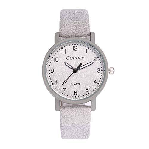 HBR Reloj Simple Reloj de señoras de la Manera del Reloj de señoras de la Pulsera de Cuero del Rhinestone del Reloj de Cuarzo del Reloj análogo de Hembra Accesorios de Moda (Color : Off-White)