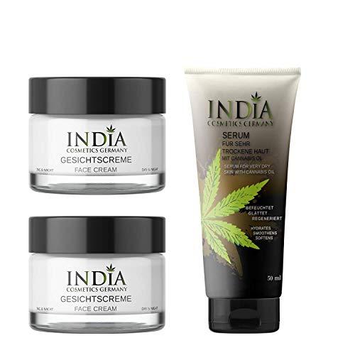 INDIA's Face & Skincare-Set mit Bio Cannabis Öl in hochwertiger Premiumqualität. Bestseller 2 x Gesichtscreme und 1 x Serum Hautcreme