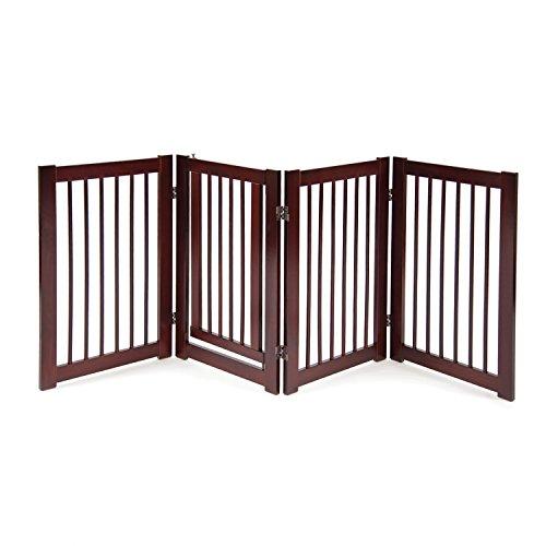 """Primetime Petz 33232 360 Configurable Dog Gate with Door – Indoor Freestanding Walk Through Wood Pet Gate,Walnut,30"""""""
