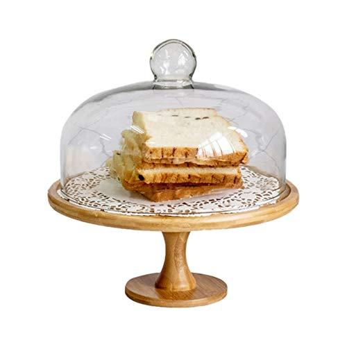 JISHIYU Soporte de pastel de madera, plato de la porción multifuncional, bandeja de pasteles reutilizable con cúpula de pastel de vidrio, soporte para pasteles, ensalada, plato, tazón de perforación,