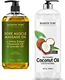 Majestic Pure Sore Muscle Massage Oil and Fractionated Coconut Oil Bundle – Sore Muscle Massage Oil 8 fl oz, Fractionated Coconut Oil 16 fl oz