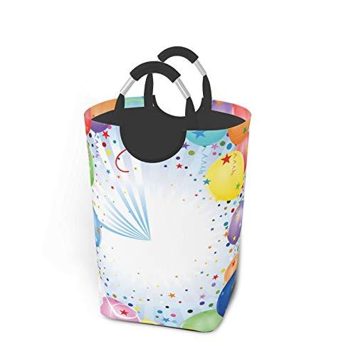 ELIENONO Bolsa de lavandería,Impresión de Evento de celebración de Fiesta Infantil,Cesta de lavandería Plegable Grande,Cesto de Ropa Plegable,Papelera de Lavado Plegable