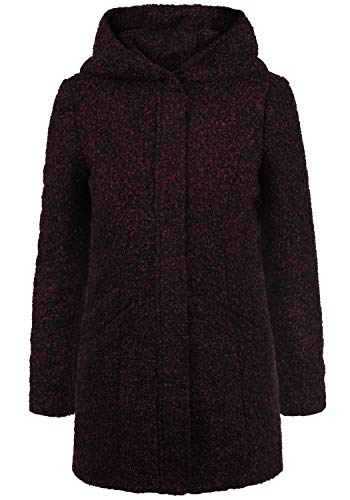 ONLY Birke Boucle Damen Winter Jacke Wollmantel Winterjacke Mantel aus Bouclé mit Kapuze, Größe:M, Farbe:Red Plum