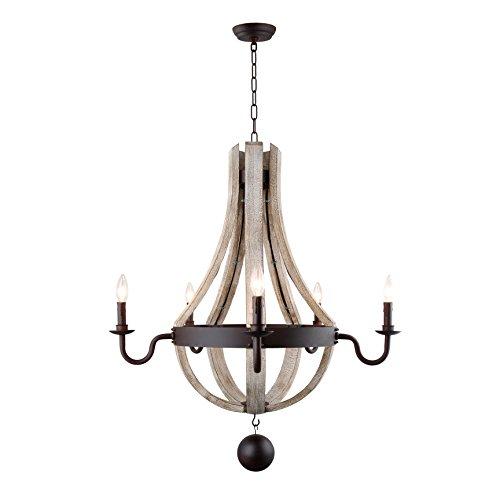 "29"" Wine Barrel Wood Ceiling light fixture Pendant chandelier Vintage French Country Wooden Metal Rustic Castle Estate"