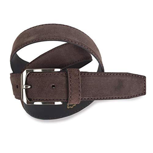 Lois - Cinturon Piel Serraje Ante Cuero Hombre Mujer. Hecho en ESPAÑA. Marca 35 mm Ancho. Talla Ajustable 49701, Color Marrón oscuro