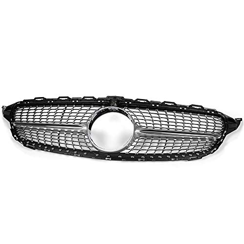 Diamond Style Front Bumper Grille Hood Grill Trim Shell Compatible For Mercedes Benz W205 C Class C250 C300 C400 C450 AMG Sport 2015 2016 2017 2018 (With Camera Hole)