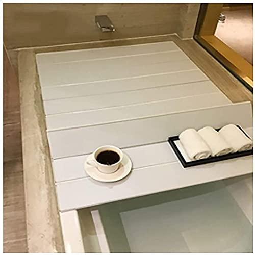 TYz Tablero de bañera, Cubierta de bañera, Tabla Plegable a Prueba de Polvo, Cubierta de Aislamiento de bañera, Bandeja de baño de PVC (Size : 116 * 70 * 0.6cm)