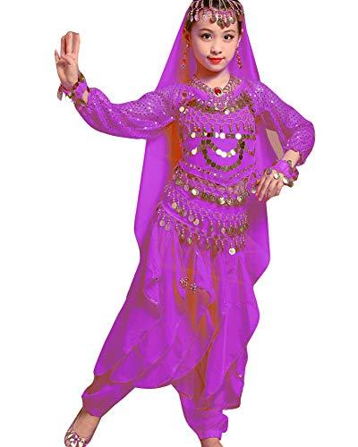 Guiran Kinder Mädchens Damen Faschings-Kostüm Indische Bauchtänzerin Kostüme Dunkelviolett L Höhengeeignet 121-130CM