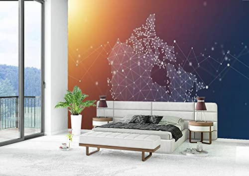 Canvas Wallpaper Self-Adhesive Removable Wall Painting Poster Sticker Craft Wall Sticker Canada Map Geometric Network Polygon Graphic Background Home Decoration Bedroom Living Room